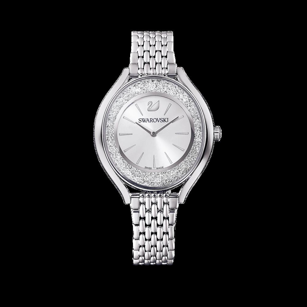 Crystalline Aura Watch, Metal Bracelet, Silver tone, Stainless steel