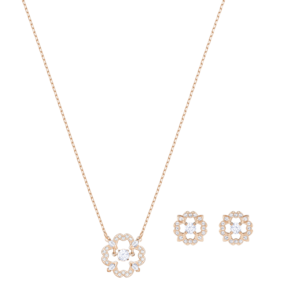 Sparkling Dance Flower Set, White, Rose Gold Plating