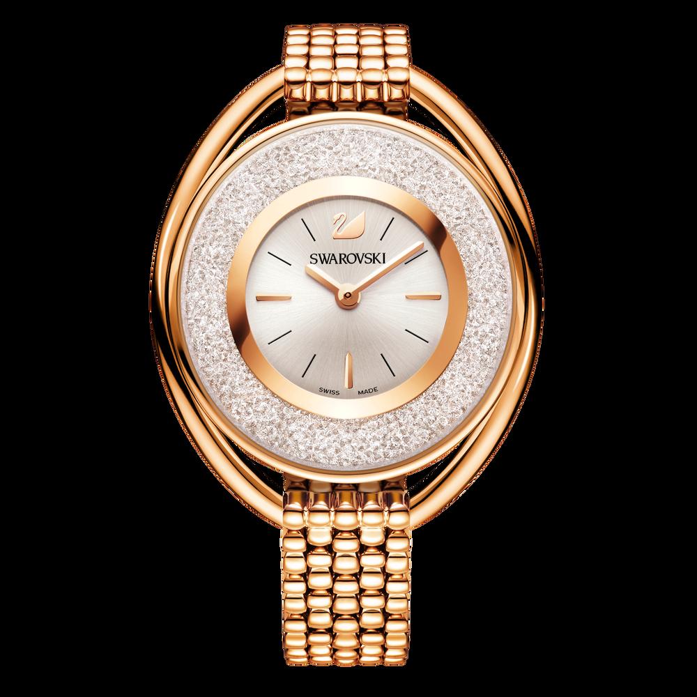 Crystalline Oval Bracelet Watch, Rose Gold Tone