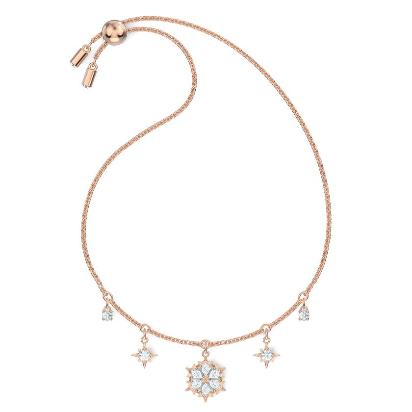 Magic Bracelet, White, Rose-gold tone plated