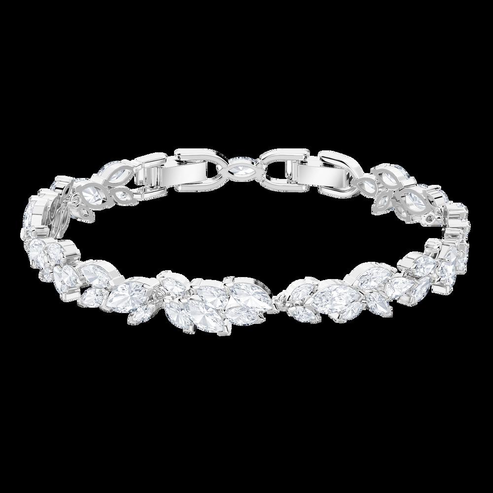 Louison Bracelet, White, Rhodium Plating