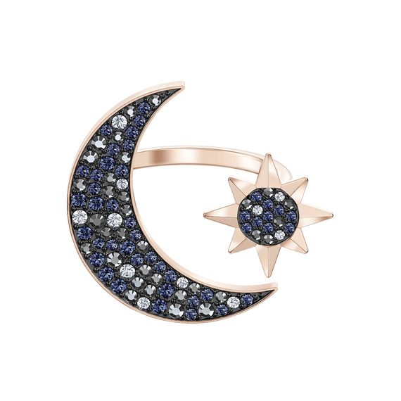 Swarovski Symbolic Moon Ring, Multi-colored, Rose-gold tone plated