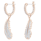 Naughty Hoop Pierced Earrings, White, Rose-gold tone plated