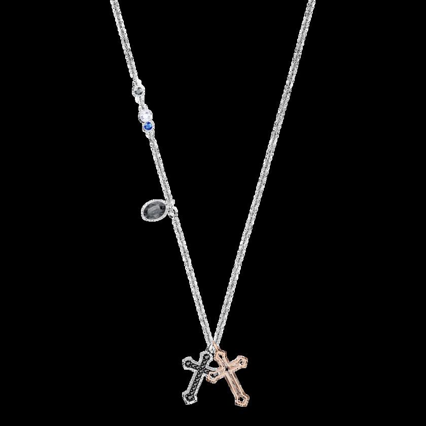 Duo Mini Cross Pendant, Multi-Colored, Mixed Plating