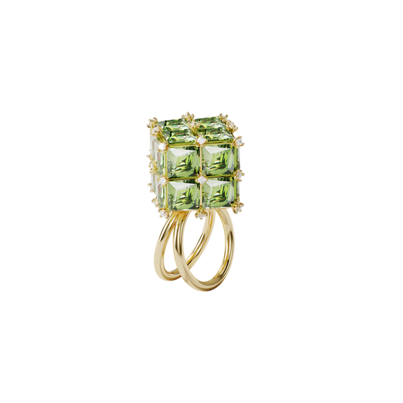 Curiosa cocktail ring, Square, Green, Gold-tone plated