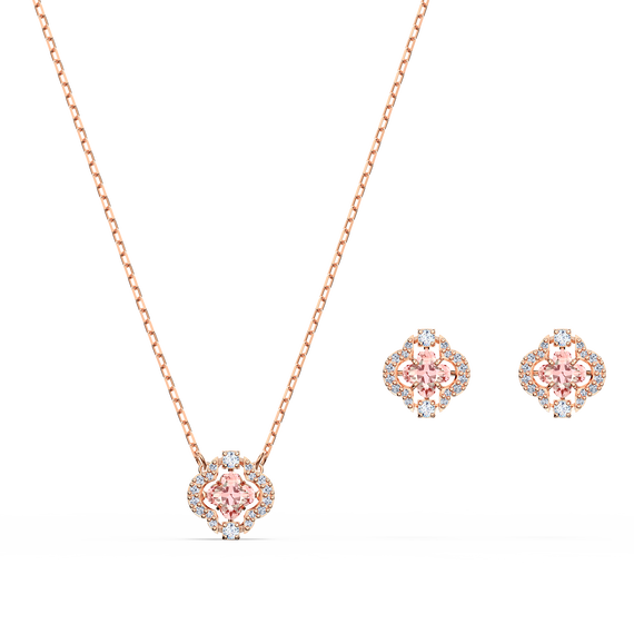 Swarovski Sparkling Dance Clover Set, Pink, Rose-gold tone plated
