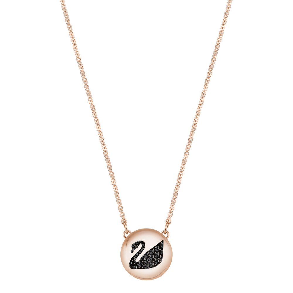 Hall Swan Pendant, Gray, Rose Gold Plating