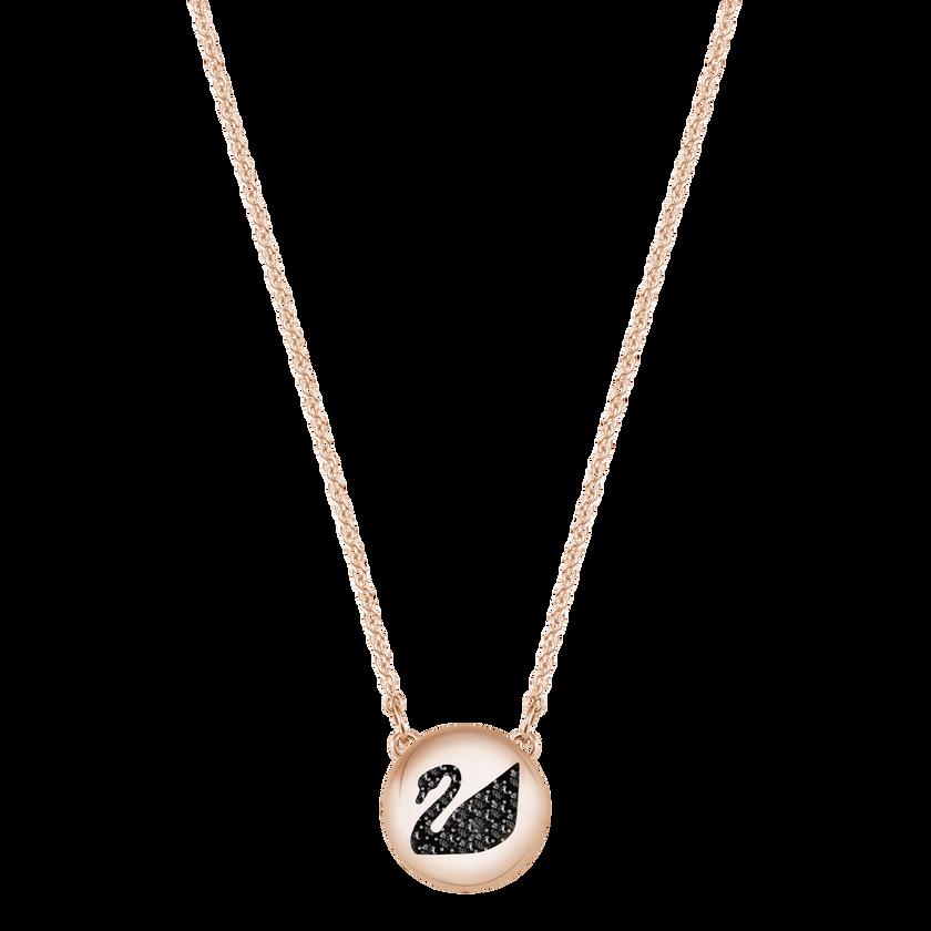 Hall Swan Pendant, Gray, Rose Gold Plating