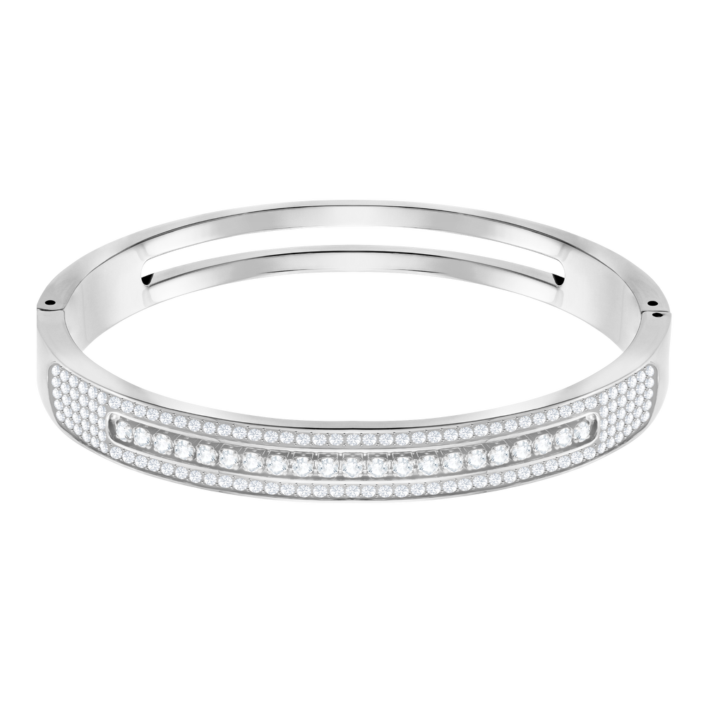 Further Wide Bangle, White, Stainless steel