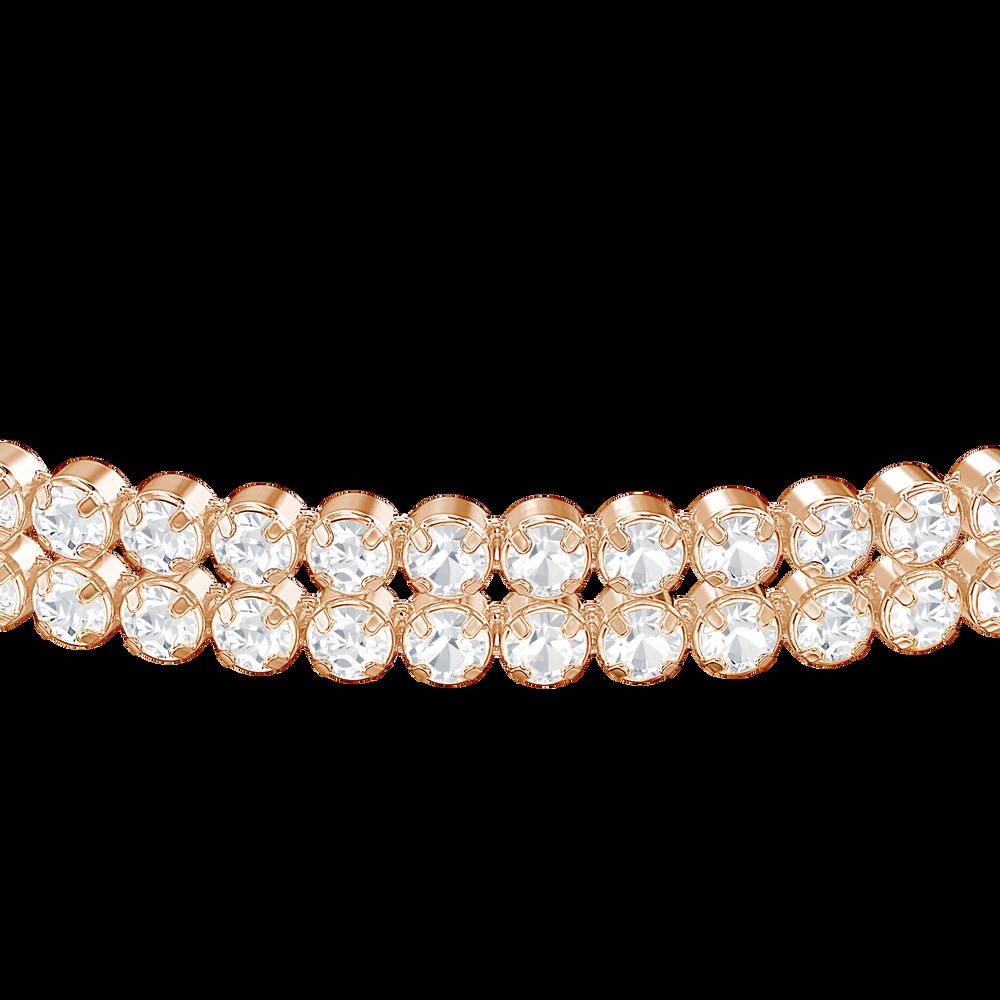 Subtle Double Bracelet, White, Rose Gold Plated