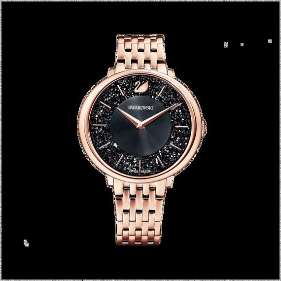 Crystalline Chic Watch, Metal bracelet, Black, Rose-gold tone PVD