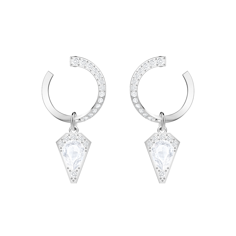 Lucy Kite Pierced Earrings, White, Rhodium plated