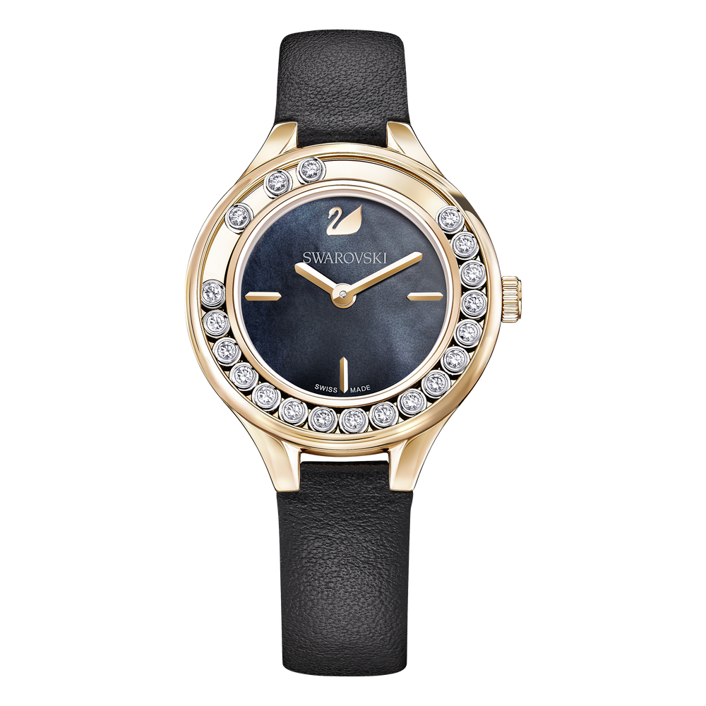 Lovely Crystals Mini Watch, Black, Rose Gold Tone