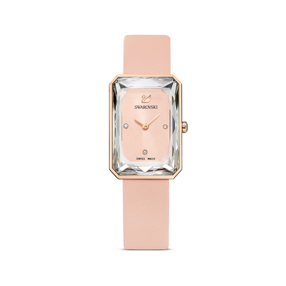 Uptown Watch, Leather strap, Pink, Rose-gold tone PVD