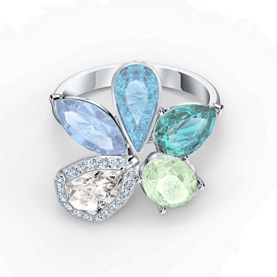 Sunny Ring, Light multi-colored, Rhodium plated