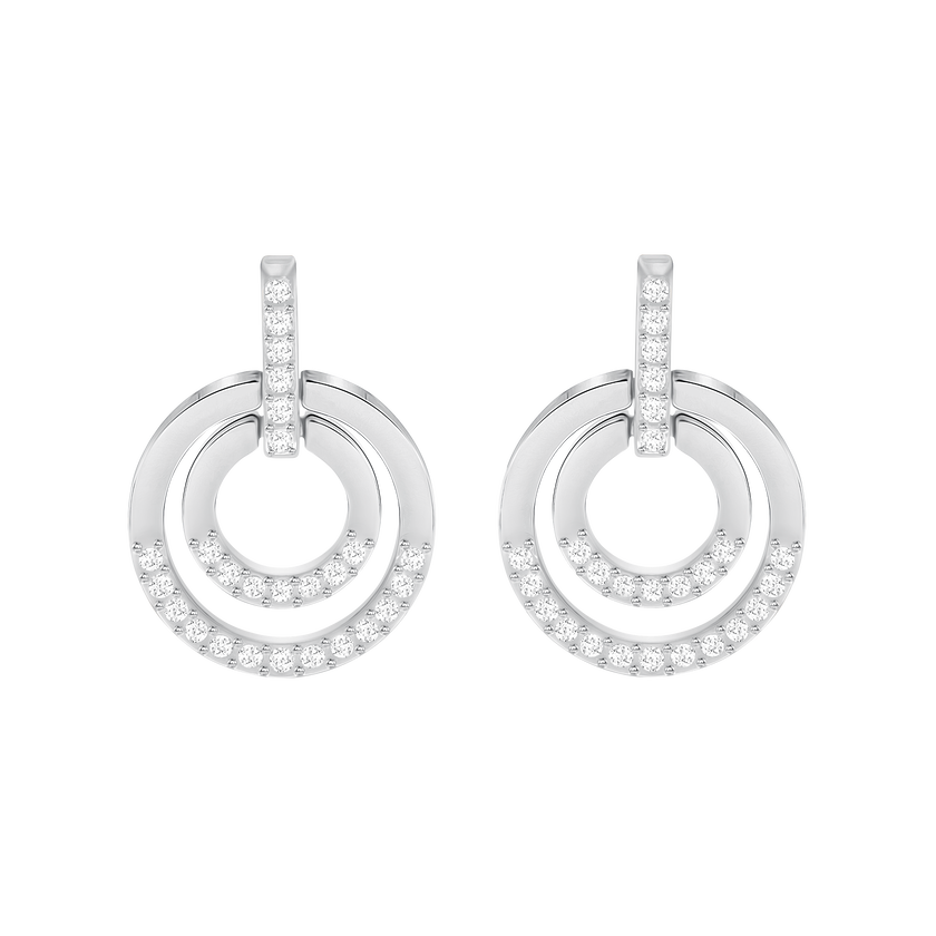 Circle Pierced Earrings, Medium, White, Rhodium Plated