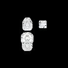 Attract Pierced Earrings, White, Rhodium Plating