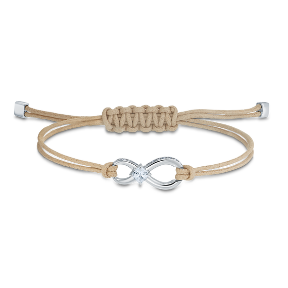 Swarovski Infinity Bracelet, Beige, Rhodium plated