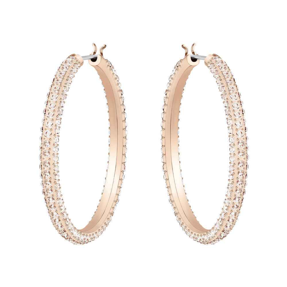 Stone Hoop Pierced Earrings, Pink, Rose Gold Plating