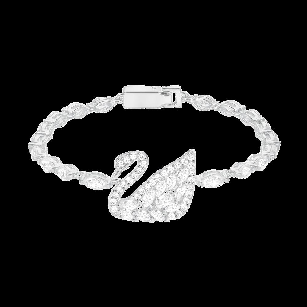 Swan Lake Bracelet, White, Rhodium Plating