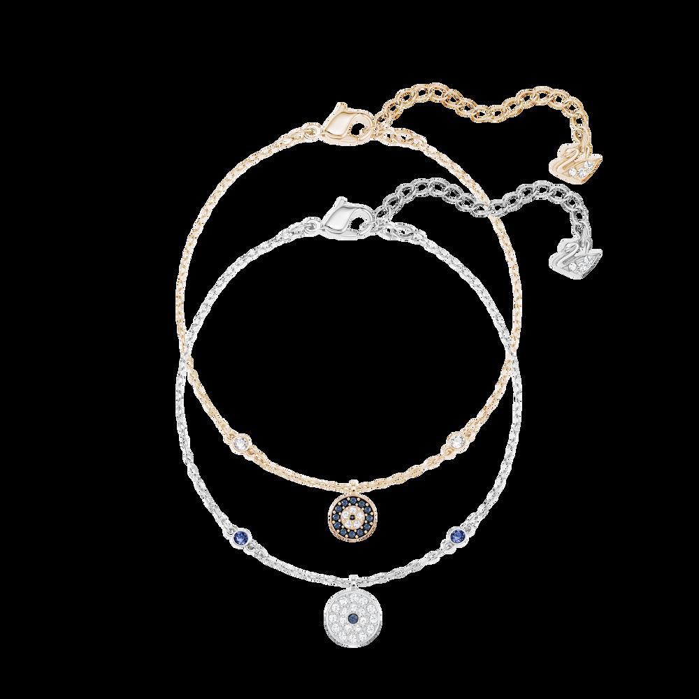 Crystal Wishes Evil Eye Bracelet Set, Blue, Mixed plating