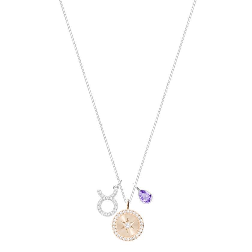 Zodiac Pendant, Taurus, Violet, Rhodium Plating