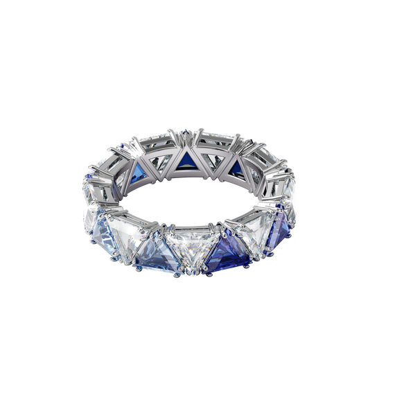 Millenia cocktail ring, Triangle cut crystals, Blue, Rhodium plated