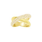 Crystaldust Cross Ring, Golden, Gold-tone plated