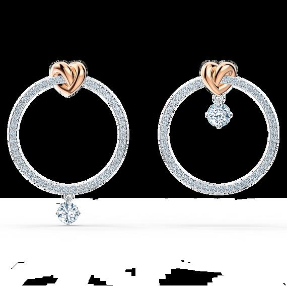 Lifelong Heart Hoop Pierced Earrings, White, Mixed metal finish
