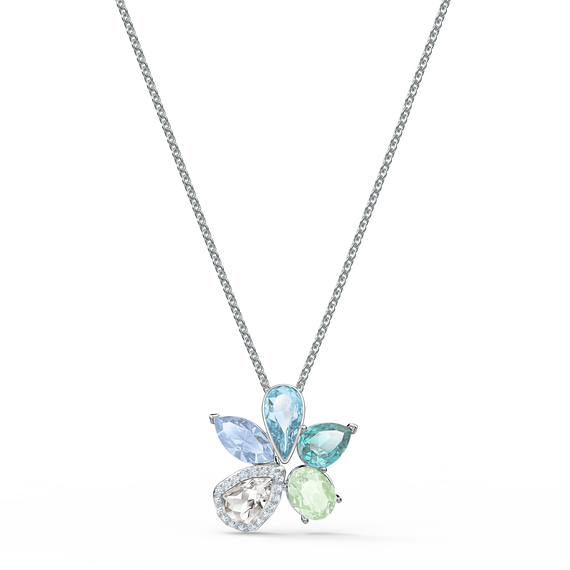 Sunny Necklace, Light multi-colored, Rhodium plated