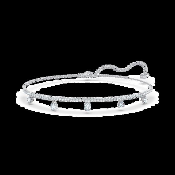 Tennis Deluxe Mixed Choker, White, Rhodium plated