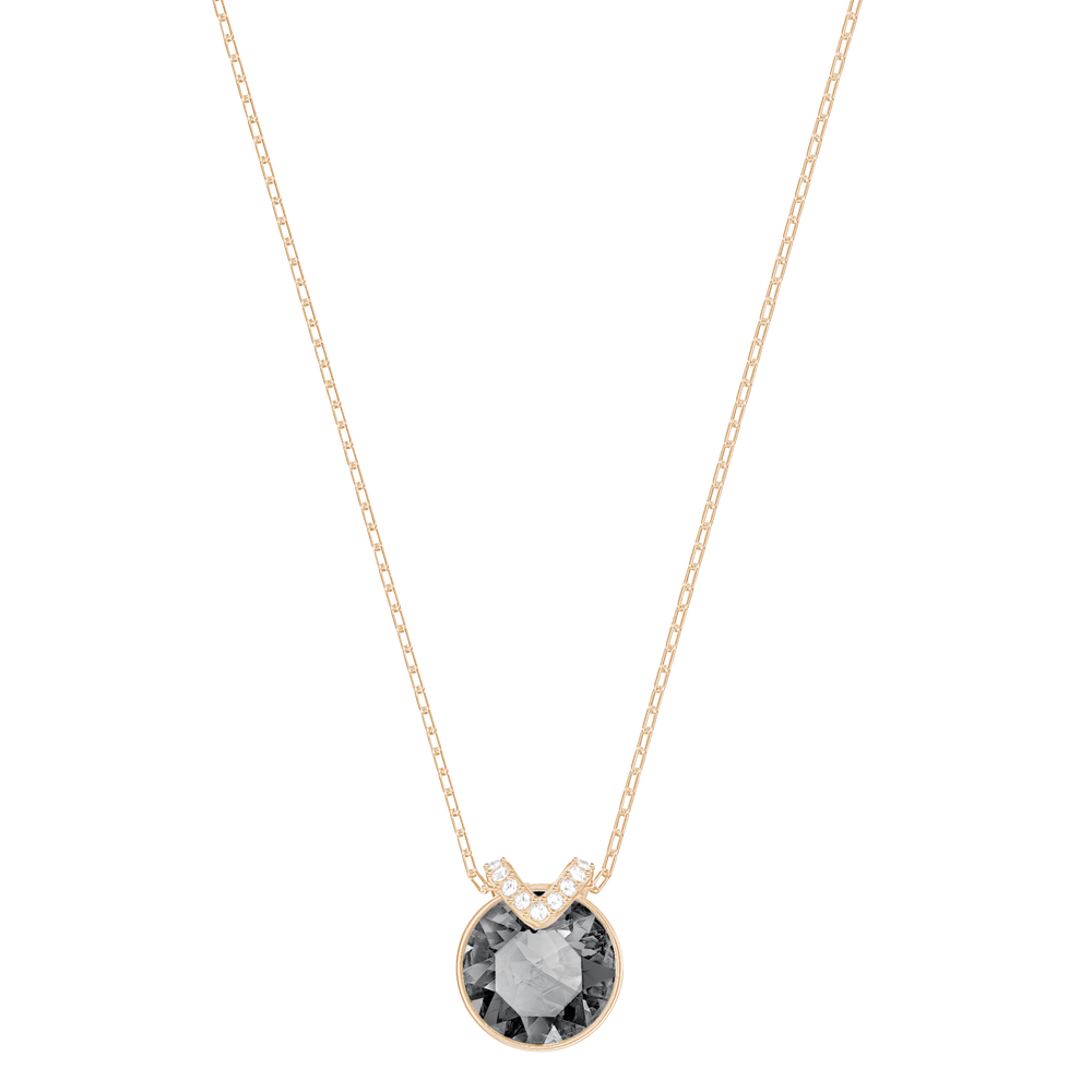Bella V Pendant, Gray, Rose-gold tone plated