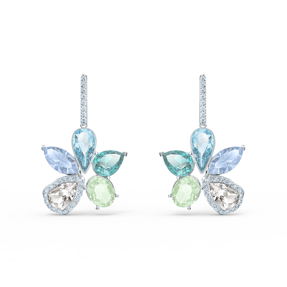 Sunny Pierced Earrings, Light multi-colored, Rhodium plated