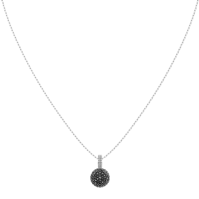 Lollypop Necklace, Gray, Rhodium plated