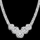 Sparkling Dance Flower Necklace, Medium, White, Rhodium Plating