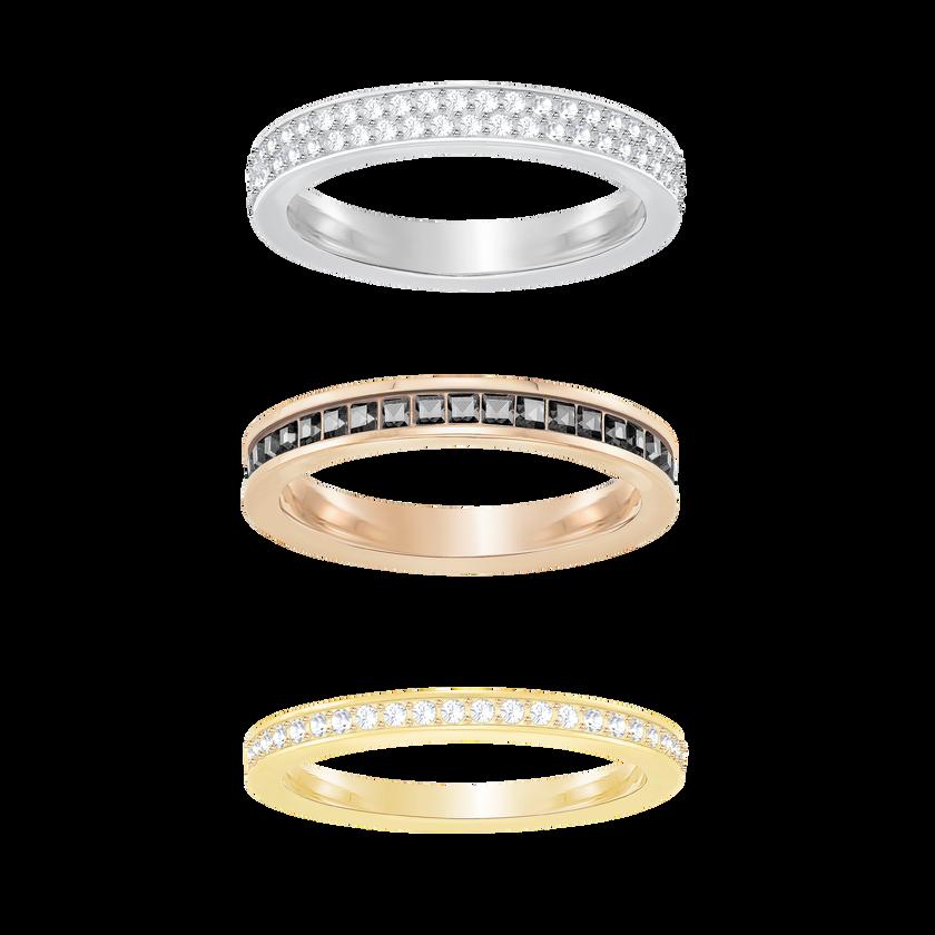 Hint Ring Set, White, Mixed plating