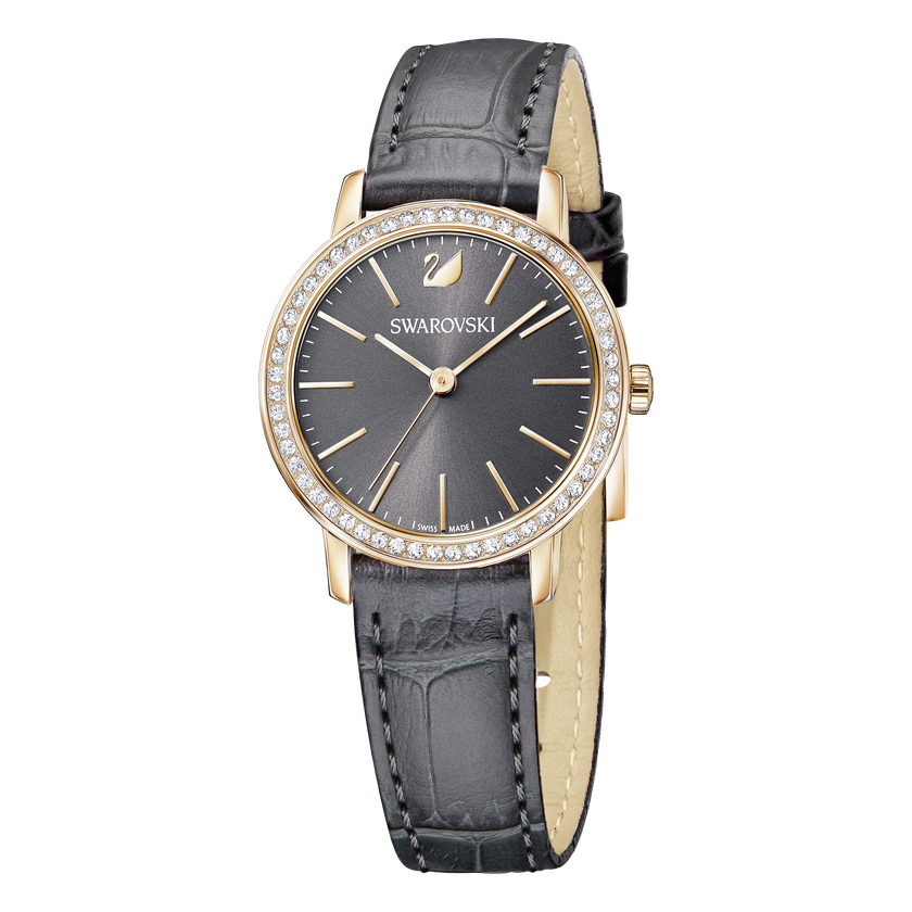 Graceful Mini Watch, Leather strap, Gray, Rose-gold tone PVD