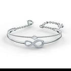Swarovski Infinity Bangle, White, Rhodium plated