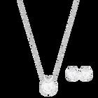 Bella V Set, White, Rhodium plated