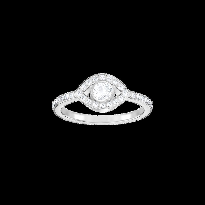 Luckily Evil Eye Ring, White, Rhodium Plating