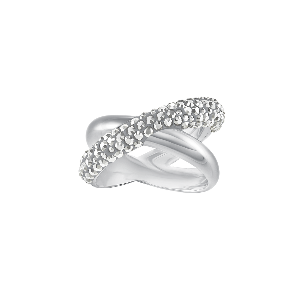 Crystaldust Cross Ring, Gray, Palladium plating