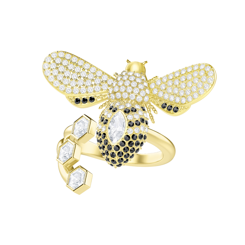 Lisabel Ring, White, Gold-tone plated
