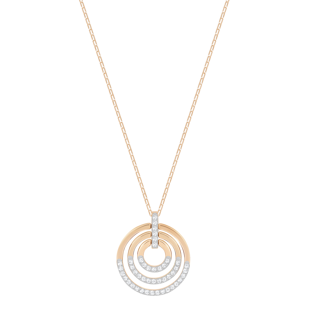 Circle Pendant, White, Rose-gold tone plated