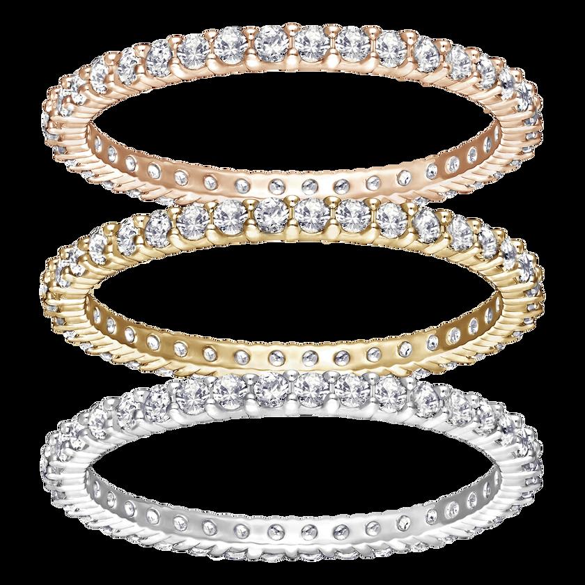 Vittore Ring Set, White, Mixed Plating