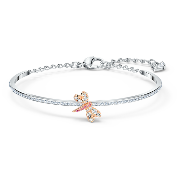 Eternal Flower Bangle, Pink, Rose-gold tone plated