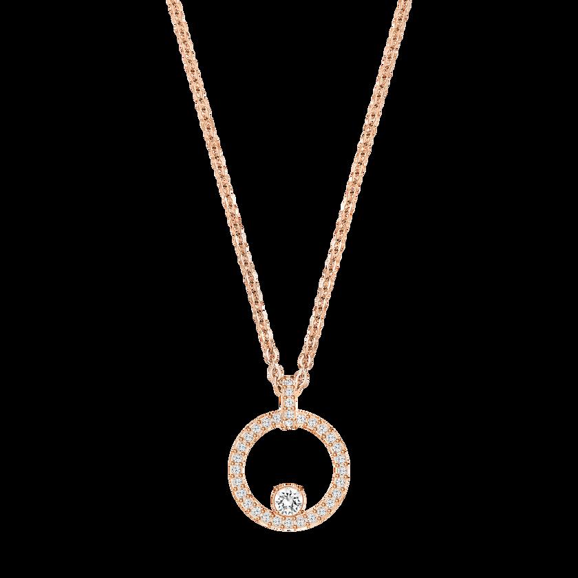 Creativity Circle Pendant, White, Rose Gold Plated