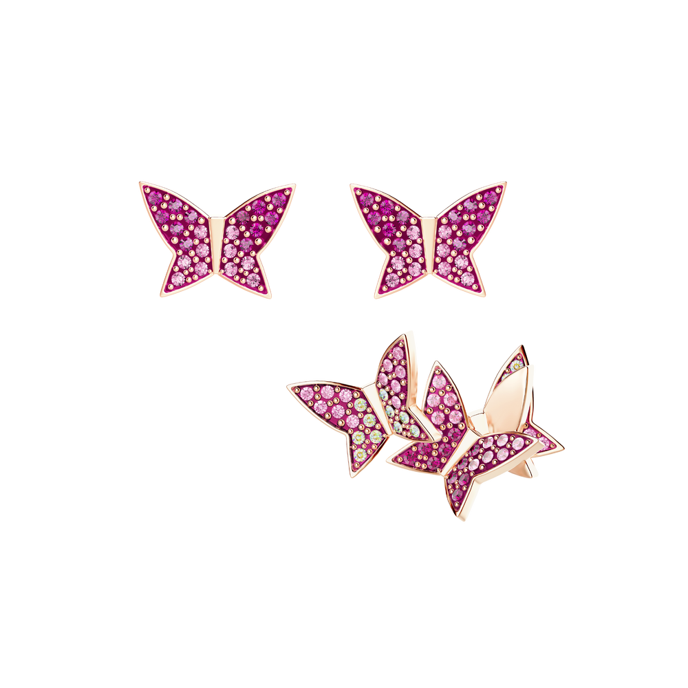 Lilia Pierced Earring Set, Multi-colored, Rose gold tone plated