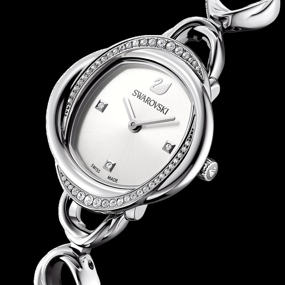 Crystal Flower Watch, Metal bracelet, Silver Tone, Stainless steel