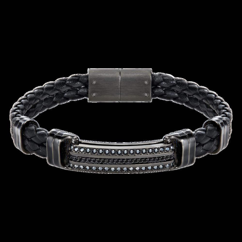 Express Braided Bracelet, Leather, Black, Mixed plating