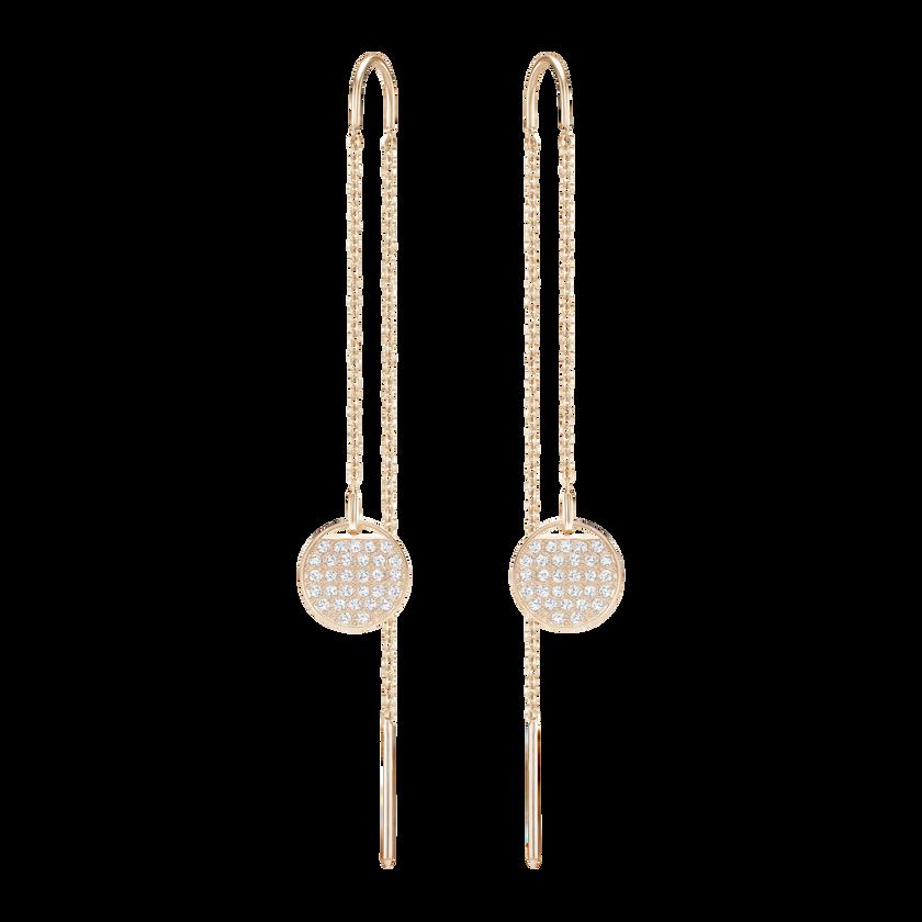 Ginger Chain Pierced Earrings, White, Rose Gold Plated